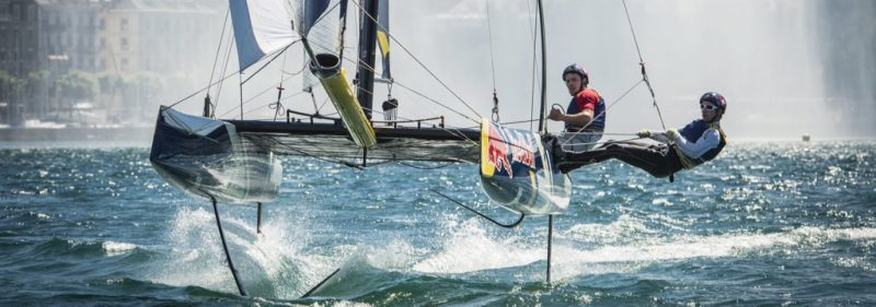 Sebastien Schneiter and Greroire Siegwart sailing at the Red Bull foiling Generation in Geneva, Switzerland on june 29 2016 // Loris von Siebenthal / Red Bull Content Pool // P-20160630-00925 // Usage for editorial use only // Please go to www.redbullcontentpool.com for further information. //