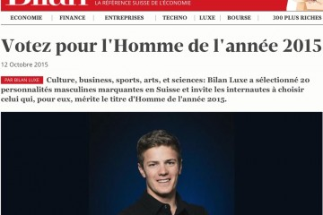 "Nominated by Bilan Magazine for ""l'Homme de l'Année 2015"""