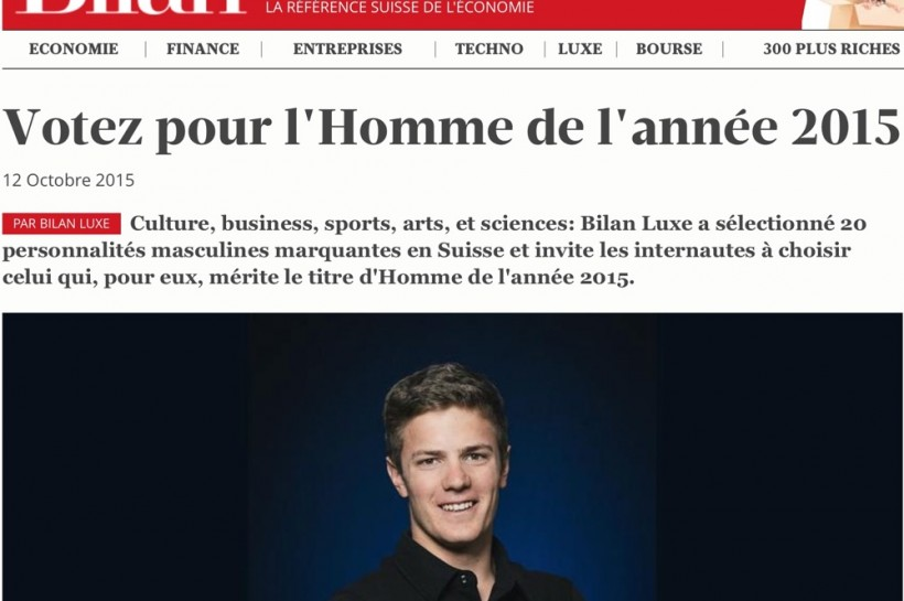 Sébastien nominé pour l'Homme de l'Année 2015