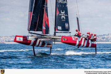 Champagne conditions to start the GC32 Worlds in Lagos